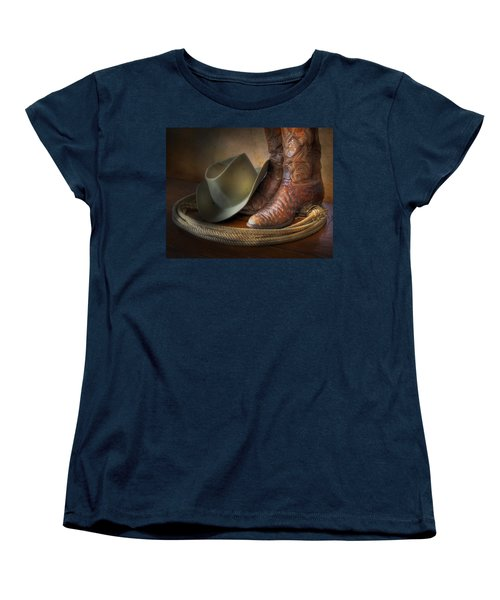 The Cowboy Boots, Hat And Lasso Women's T-Shirt (Standard Cut) by David and Carol Kelly