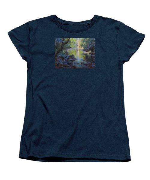 Women's T-Shirt (Standard Cut) featuring the painting The Creek by Karen Ilari