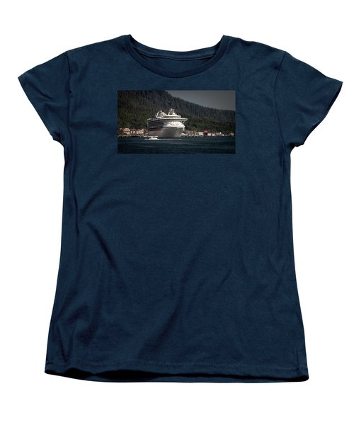Women's T-Shirt (Standard Cut) featuring the photograph The Cruise Ship And The Plane by Timothy Latta