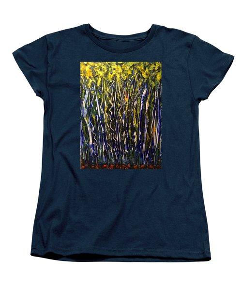 Women's T-Shirt (Standard Cut) featuring the painting The Dancing Garden by Kicking Bear Productions