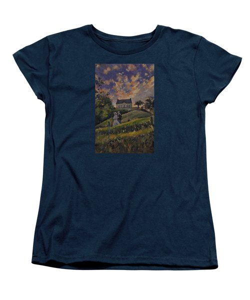 Women's T-Shirt (Standard Cut) featuring the painting The Evening Stroll Around The Hoeve Zonneberg by Nop Briex