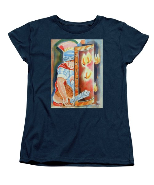 Women's T-Shirt (Standard Cut) featuring the painting The Fiery Darts Of The Evil One 3 by Kip DeVore