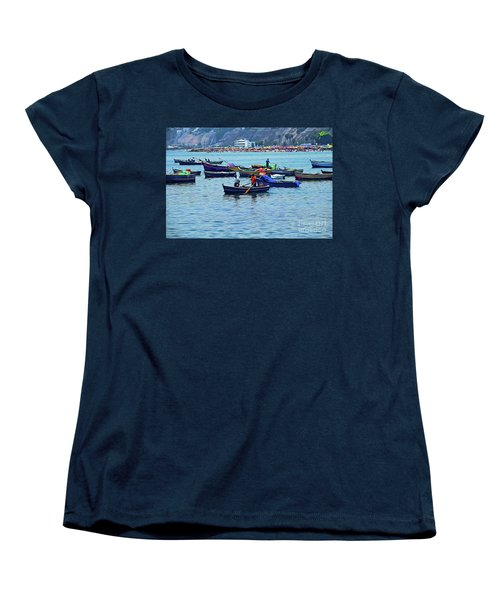 Women's T-Shirt (Standard Cut) featuring the photograph The Fishermen - Miraflores, Peru by Mary Machare