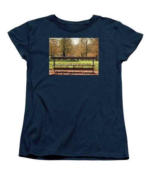 Women's T-Shirt (Standard Cut) featuring the photograph The French Bench And The Autumn by Yoel Koskas