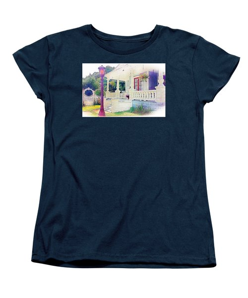 The Gate Porch And The Lamp Post Women's T-Shirt (Standard Cut) by Becky Lupe