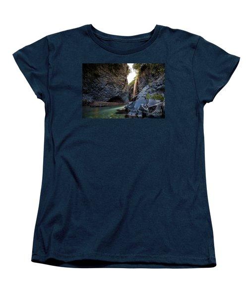 The Golden Waterfall Women's T-Shirt (Standard Cut) by Giuseppe Torre