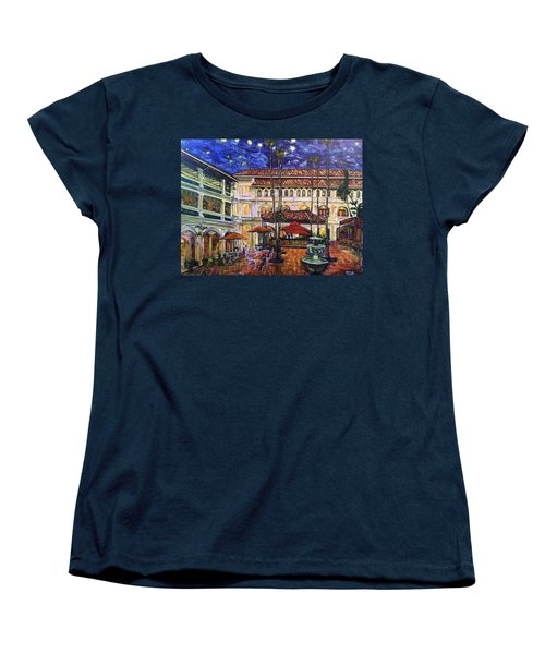 Women's T-Shirt (Standard Cut) featuring the photograph The Grand Dame's Courtyard Cafe  by Belinda Low