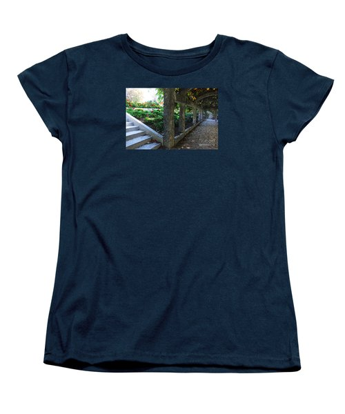 Women's T-Shirt (Standard Cut) featuring the digital art The Grape Arbor Path by David Blank
