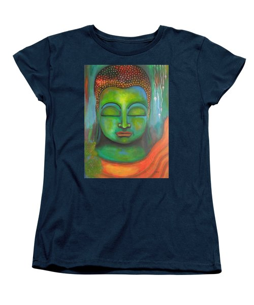 Women's T-Shirt (Standard Cut) featuring the painting The Green Buddha by Prerna Poojara