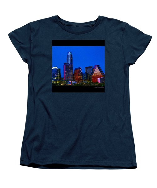 The #instaawesome #austin #skyline On A Women's T-Shirt (Standard Cut) by Austin Tuxedo Cat