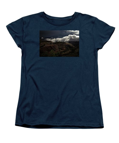 Women's T-Shirt (Standard Cut) featuring the photograph The Jerome State Park With Low Lying Clouds After Storm by Ron Chilston