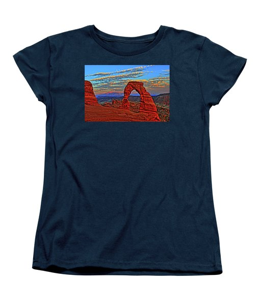 Women's T-Shirt (Standard Cut) featuring the photograph The La Sal Mountains And Arch by Scott Mahon