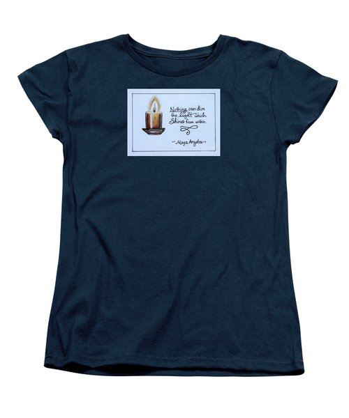 Women's T-Shirt (Standard Cut) featuring the painting The Light Which Shines From Within by Elizabeth Robinette Tyndall