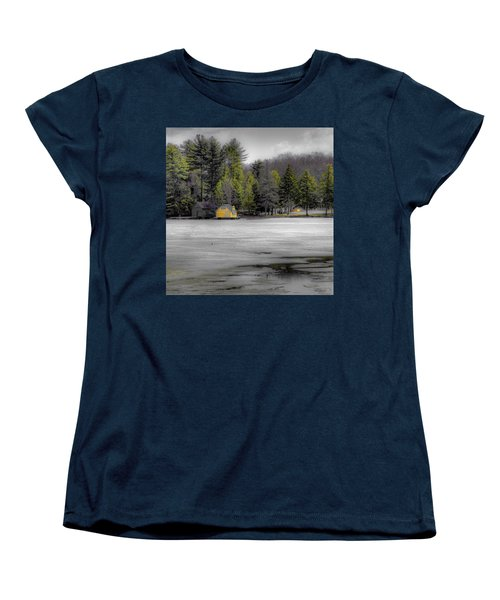 Women's T-Shirt (Standard Cut) featuring the photograph The Lighthouse On Frozen Pond by David Patterson