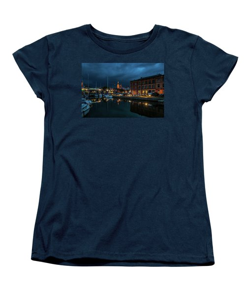 The Little Harbor In Stralsund Women's T-Shirt (Standard Cut) by Martina Thompson