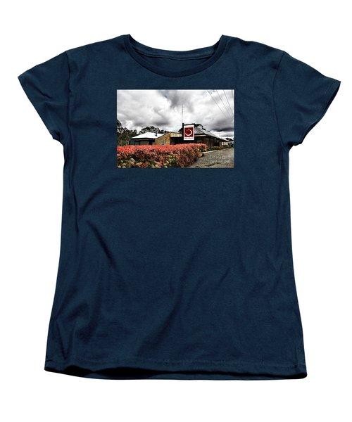 Women's T-Shirt (Standard Cut) featuring the photograph The Little Red Grape Winery   by Douglas Barnard