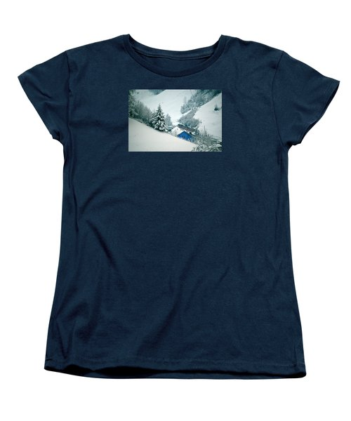 Women's T-Shirt (Standard Cut) featuring the photograph The Little Red Train - Winter In Switzerland  by Susanne Van Hulst