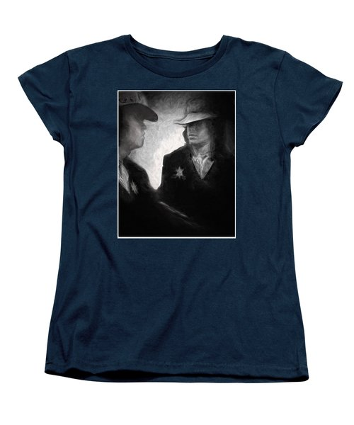 Women's T-Shirt (Standard Cut) featuring the drawing The Looking Glass by Michael Cleere