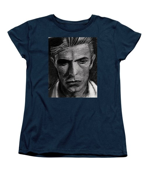 Women's T-Shirt (Standard Cut) featuring the painting The Man Who Fell To Earth 1976 by Jarko Aka Lui Grande