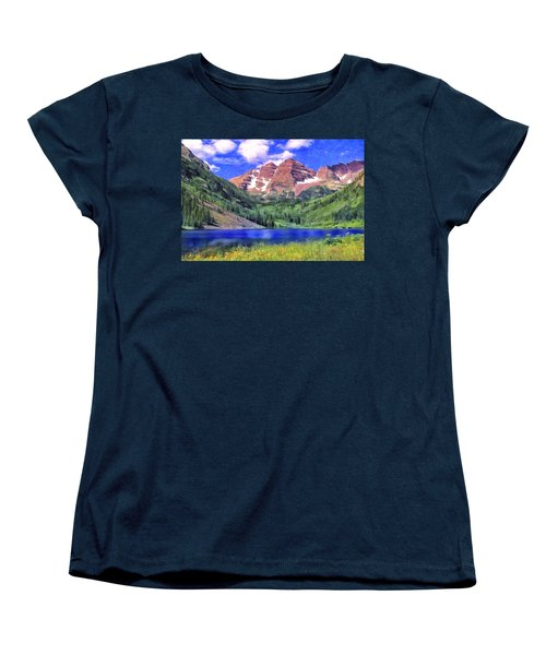 The Maroon Bells Women's T-Shirt (Standard Cut) by Dominic Piperata