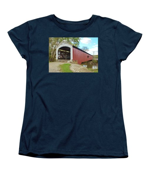 Women's T-Shirt (Standard Cut) featuring the photograph The Mecca Covered Bridge by Harold Rau