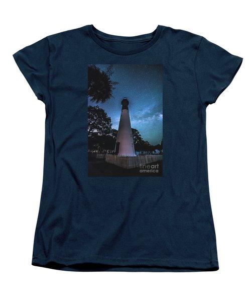 The Milky Way At Saint Helena Light House Women's T-Shirt (Standard Cut) by Robert Loe