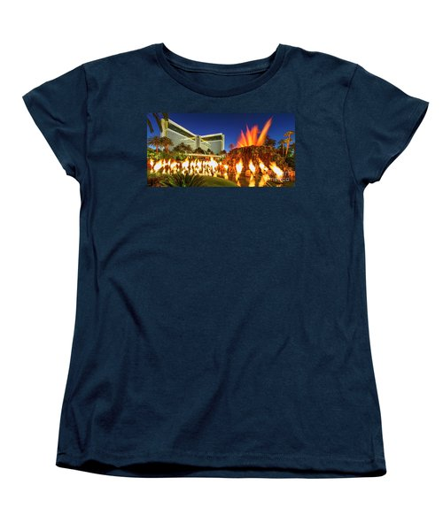 The Mirage Casino And Volcano Eruption At Dusk Women's T-Shirt (Standard Cut) by Aloha Art