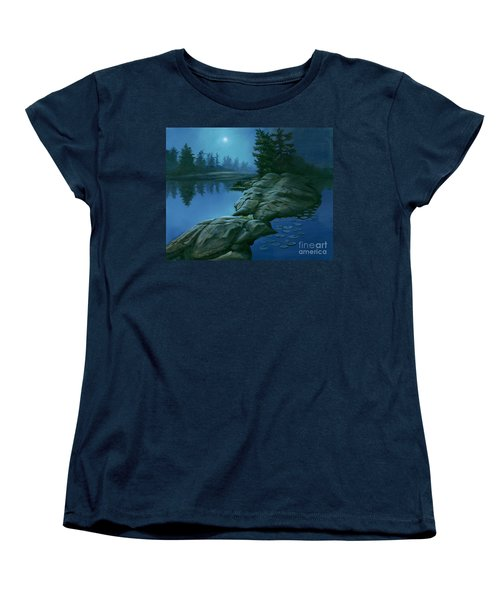 Women's T-Shirt (Standard Cut) featuring the painting The Moonlight Hour by Michael Swanson