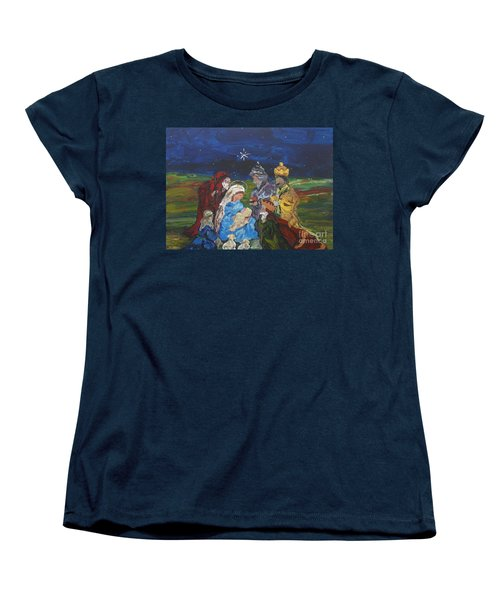 Women's T-Shirt (Standard Cut) featuring the painting The Nativity by Reina Resto