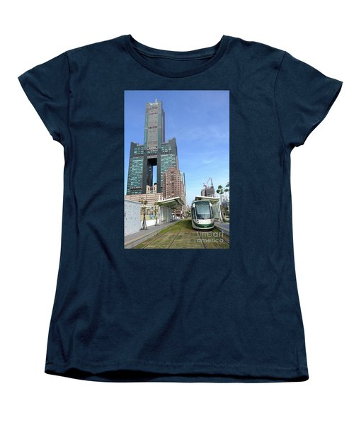 Women's T-Shirt (Standard Cut) featuring the photograph The New Kaohsiung Light Rail Train by Yali Shi