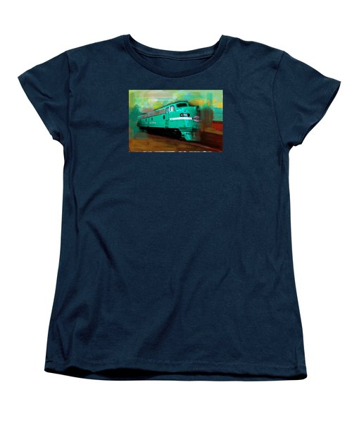 Women's T-Shirt (Standard Cut) featuring the painting Flash II  The Ny Central 4083  Train  by Iconic Images Art Gallery David Pucciarelli