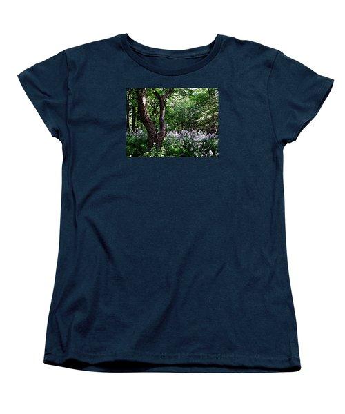 The Old Apple Tree, Fiddlehead Ferns And Wild Phlox Women's T-Shirt (Standard Cut) by Joy Nichols
