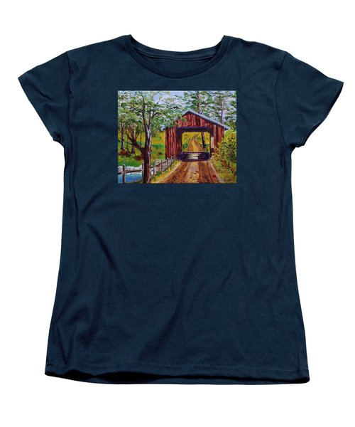 The Old Covered Bridge Women's T-Shirt (Standard Cut) by Mike Caitham