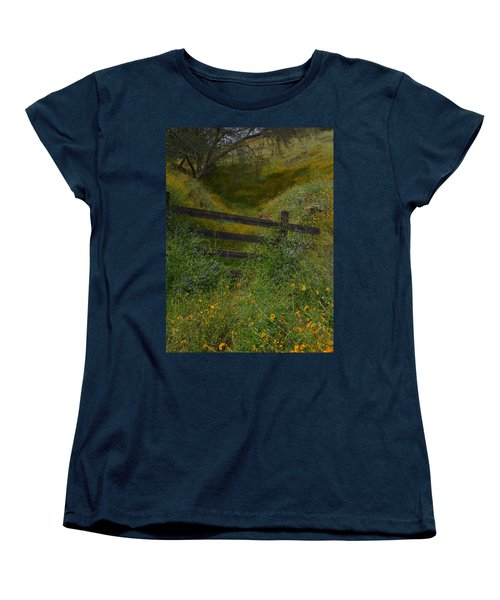Women's T-Shirt (Standard Cut) featuring the photograph The Old Wooden Fence by Debby Pueschel