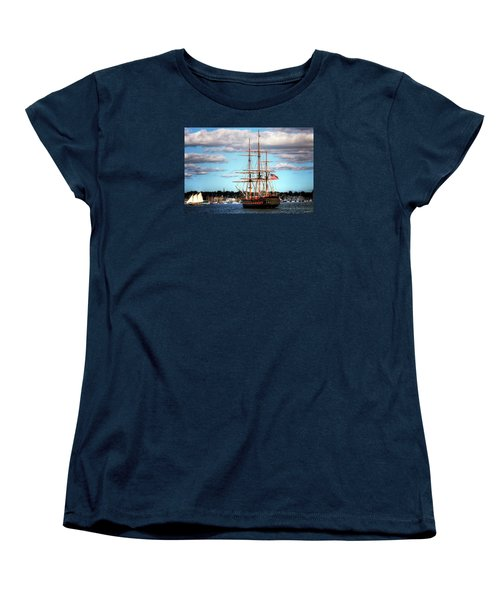 Women's T-Shirt (Standard Cut) featuring the photograph Tall Ship The Oliver Hazard Perry by Tom Prendergast