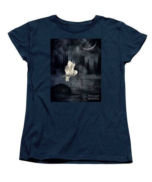 The Owl And Her Mystical Moon Women's T-Shirt (Standard Cut) by Heather King