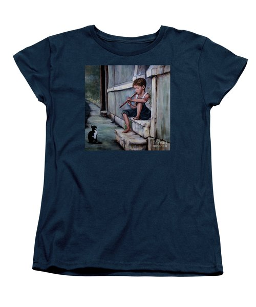 Women's T-Shirt (Standard Cut) featuring the painting The Piper by Judy Kirouac