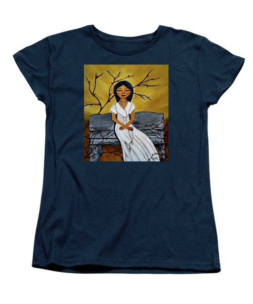 Women's T-Shirt (Standard Cut) featuring the painting The Power Of The Rosary Religious Art By Saribelle by Saribelle Rodriguez