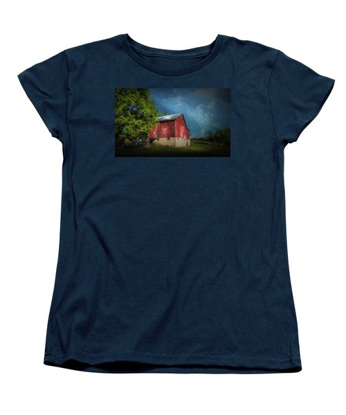 Women's T-Shirt (Standard Cut) featuring the photograph The Red Barn by Marvin Spates