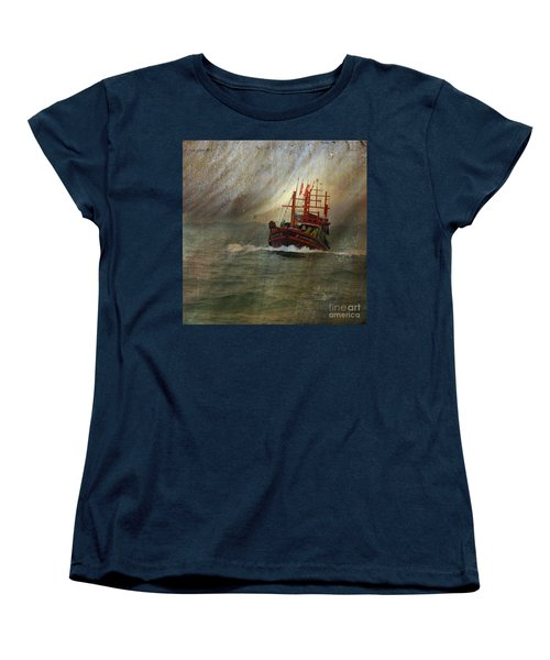 Women's T-Shirt (Standard Cut) featuring the photograph The Red Fishing Boat by LemonArt Photography