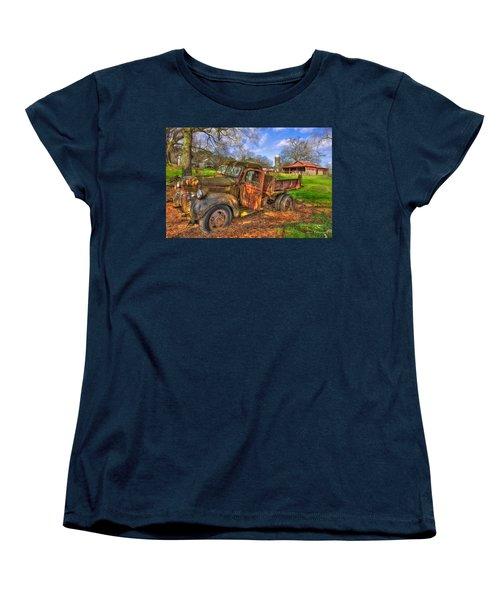 The Resting Place 2 Boswell Farm 1947 Dodge Dump Truck Women's T-Shirt (Standard Cut) by Reid Callaway