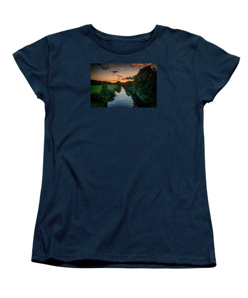Women's T-Shirt (Standard Cut) featuring the photograph The River Lippe In Lower Rhine Region by Sabine Edrissi