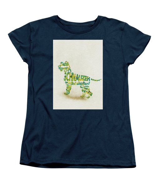The Schnauzer Dog Watercolor Painting / Typographic Art Women's T-Shirt (Standard Fit)