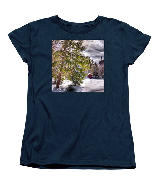 Women's T-Shirt (Standard Cut) featuring the photograph The Secluded Boathouse by David Patterson