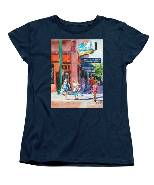 Women's T-Shirt (Standard Cut) featuring the painting The Shoppers by Ron Stephens