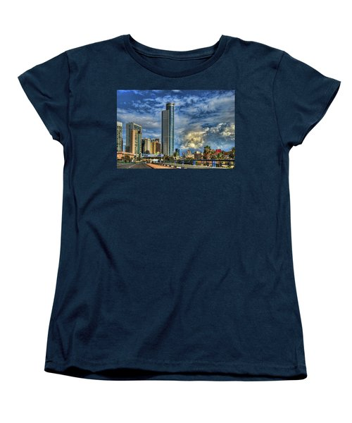 Women's T-Shirt (Standard Cut) featuring the photograph The Skyscraper And Low Clouds Dance by Ron Shoshani