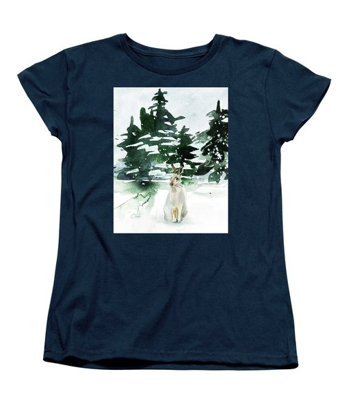 Women's T-Shirt (Standard Cut) featuring the painting The Snow Bunny by Colleen Taylor