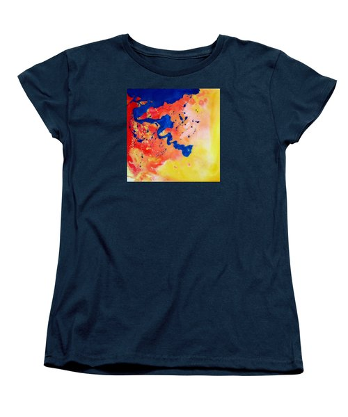 Women's T-Shirt (Standard Cut) featuring the painting The Spill by Mary Kay Holladay