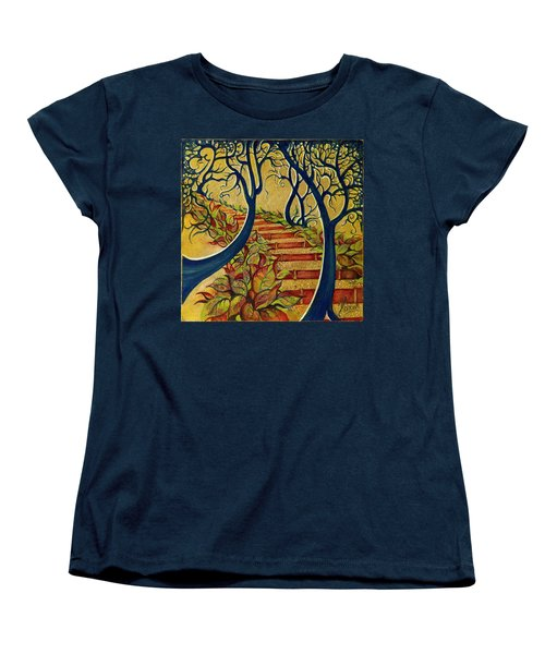 Women's T-Shirt (Standard Cut) featuring the painting The Stairs To Now by Anna Ewa Miarczynska