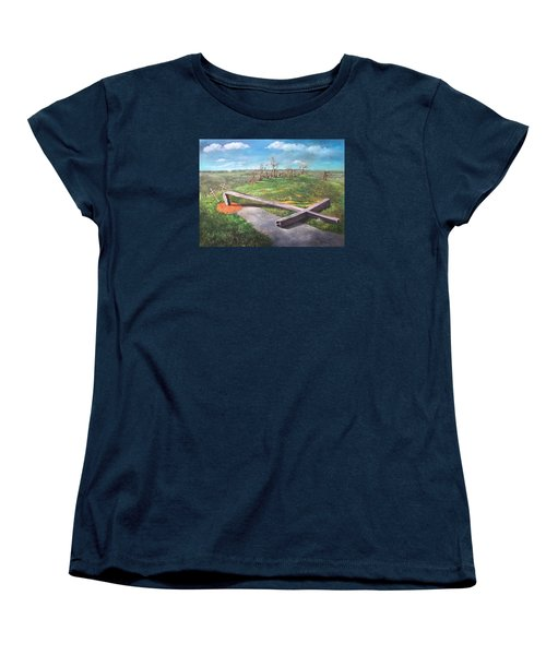Women's T-Shirt (Standard Cut) featuring the painting Millsfield Tennessee Steel Cross by Randol Burns